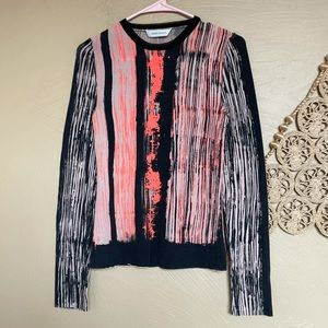 Cedric Charlier Abstract Stripe Print Sweater, Sz